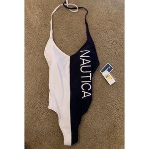 One piece Nautical Bathing Suit